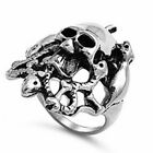 SKULL AND SNAKES 316L Stainless Steel Ring SIZES 9-14