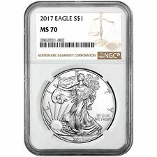 2017 Silver American Eagle MS70 NGC Brown Label
