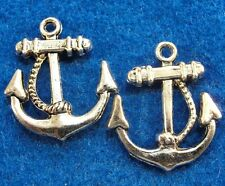 50Pcs. WHOLESALE Tibetan Silver 3D Ship's ANCHOR Charms Pendants Ear Drops Q0401
