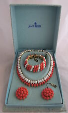 VTG Trifari Coral&White Lucite Parure Set Necklace Bracelet&Earrings in Box&Tags