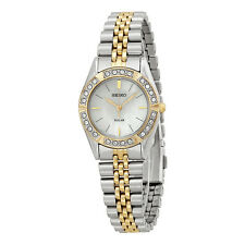 Seiko Solar Mother of Pearl Dial Two-tone Stainless Steel Ladies Watch SUP094