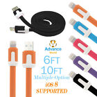 8 Pin USB Flat Noodle Lightning Cable Charger Data Cord iPhone 6 6+ Plus SE 5S 5