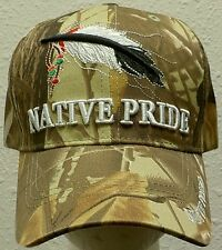 CAMO LEAF INDIAN NATIVE PRIDE AMERICAN BALD GOLDEN EAGLE FEATHER SYMBOL CAP HAT