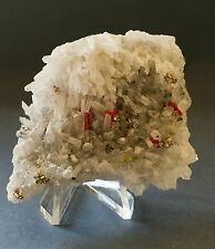 COLLECTOR QUARTZ BED WITH REALGAR  PYRITE GALENAS  PALOMO MINE PERU ANDES 0055