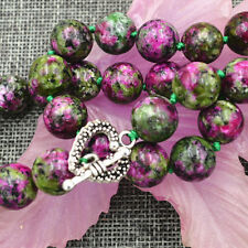 "New 12mm green ruby gemstone Necklace 18"" Tibetan silver love clasps"