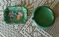 2 Vintage Enameled Tray and Cloisonne Ashtray Green Blue Floral - China