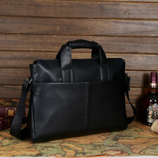 Genuine Men Leather Business Briefcase Laptop Handbag Work Shoulder Bags Black