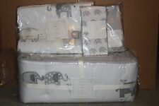 4pc NWT Pottery Barn Kid Taylor crib skirt bumper & toddler quilt sheet elephant