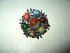 Vintage MIRACLE Silvertone & Agate Stones Celtic Scottish Kilt Brooch Pin