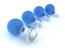 4 VACUUM MASSAGE CUPS SET OF 4 GLASS CUPS FOR MASSAGE