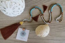 Tassel Necklace Caramel Long Crystal Turquoise Wood  Bronze Cocktail Handmade