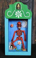 Day of the Dead skeleton Red Devil Relicario Wooden Niche Nicho Mexican Folk Art