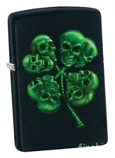 FOUR LEAF CLOVER SKULL Black Matte-ZIPPO neu+ovp Collection 2017