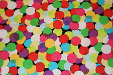 MICHAEL MILLER SPOTLIGHT 100% Cotton Fabric RAINBOW POLKA DOTS SPOTS ON BLACK HY