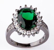 Jewelry Size8 emerald CZ Fashion Black 18K Gold Filled Rings 5.20ct H26