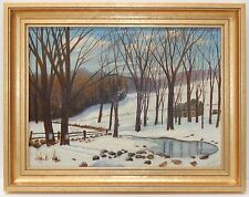 Mid Century Oil Painting on Board  FH Dygert 1951 Winter Trees Pond Custom Frame