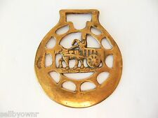 BRASS MEDALLION Egyptian Chariot Figure Bridle Strap ORNAMENT Peerage England