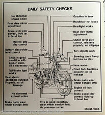 "KAWASAKI Z650 KZ650 ""DAILY SAFETY CHECKS"" CAUTION WARNING DECAL"