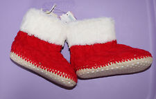 NWT Baby Gap Red/White booties Sweater home shoes Sz: Medium 7/8