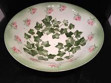 """Antique Ridgeway England Royal Semi Porcelain Ivy & Rose Bowl 9.5"""" Fruit Serving"""