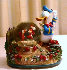 "DISNEY DONALD DUCK ""CHIP & DALE STRAWBERRY GARDEN"" SNOWGLOBE ***RARE***MUSICAL"