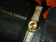NEW LADIES WATCH BIJOUX TERNER GOLD BAND QUARTZ DIAMONDS  NIP