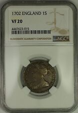1702 England Anne Silver 1S Shilling Coin NGC VF-20