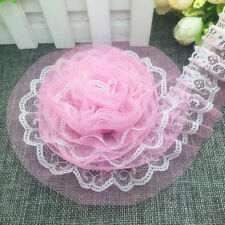 New 5 yards 2-Layer 40mm Pink Organza Lace Gathered Pleated Sequined Trim G#05