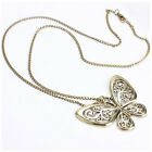 Beauty Women Fashion Retro Carved Butterfly Pendant Long Chain Sweater Necklace