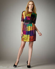 TRINA TURK SILK Abstract Multi Color DRESS Geo S/S Sheath dress mini SZ 8 M $318