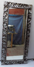 Specchio in legno intarsiato e stagionato cm 180x80 Argento anticato class mode