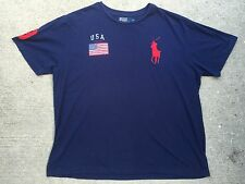 Polo Ralph Lauren T-Shirt Big Pony USA Flag 3 Sport SZ XL Bear Navy Blue