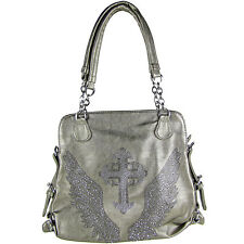 GRAY RHINESTONE CROSS WITH WINGS LOOK SHOULDER BRAND NEW PURSE