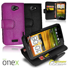 Wallet Flip Leather Case Cover Card Slot for HTC ONE X XL + Screen Guar