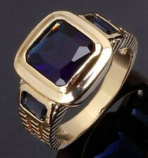Fashion Size 10 Jewelry Luxury Blue Topaz 18K Gold Filled Mens Engagement Ring