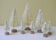 Set of 8 Mini White Sisal Bottle Brush CHRISTMAS TREES ~ Snow Frost Village Putz