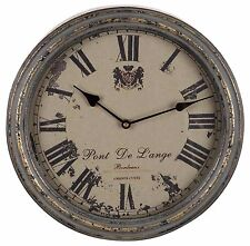 "French Distressed Metal Round Wall Clock Gray Home Decor 13"" NEW U59360"