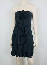 NWT BCBG MAX AZRIA Playful Party Dress Strapless Fitted Ruffles Taffeta Black 8