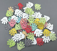 100pcs Stripe Wooden sewing palm shape buttons 2-holes Mix scrapbooking 18mm