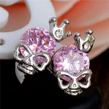 Skull & Crown  Pink Cubic Zirconia Heart White Gold Plated Stud Earrings