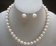 """Natural 7-8mm White Real Cultured Pearl Necklace Earring Jewelry Set 18"""""""