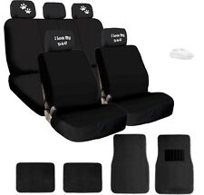 NEW 4X I LOVE MY DOG PAWS LOGO HEADREST WITH SEAT COVERS AND MATS FOR TOYOTA