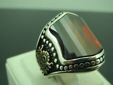 Turkish Handmade Ottoman Style 925 Sterling Silver Ruby Stone Men's Ring Sz 9