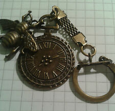 "KEY RING "" BEE ON ROUND CLOCK  ""  ON  ANTIQUE GOLD PLATED  LONG KEY"