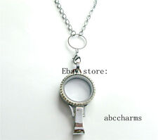 """(new style)Crystal Lanyard floating charm locket + necklace rolo chain 24"""""""