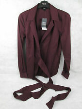 NEXT BURGUNDY WRAP CROSS OVER BLOUSE JACKET PIN STRIPE SIZE 6 NEW WITH TAGS