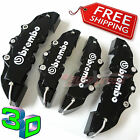3D BLACK BREMBO Style Brake Caliper Covers 4 Pieces Front & Rear UNIVERSAL Set