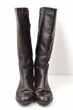 Leather Riding Boots 7 W Dark Brown Zip Up Tall Wide Buckle