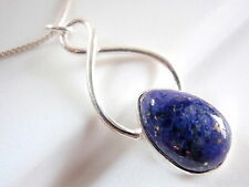 Blue Lapis Pendant 925 Sterling Silver Infinity Hoop Signifies Endless Love New