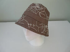 BNWT MONSOON ACCESSORIZE TAUPE COTTON FLORAL BOHO BUCKET HOLIDAY SUMMER SUN HAT